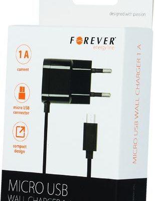Forever Ładowarka Ład siec micro USB 1A czarna new shell GSM020147