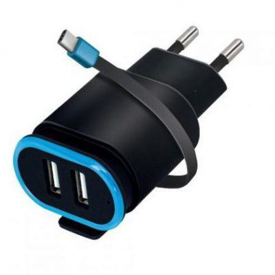 Forever TC-02 2xUSB 2.4A + kabel USB-C czarna