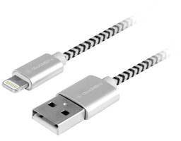 GoGEN Kabel USB lightning 3m opletený LIGHTN300MM24) Srebrny