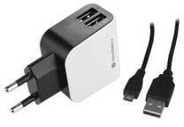 goGEN Ładowarka do sieci ACH 201 C, 2x USB + microUSB kabel 1,2m (GOGACH201C) Cz