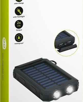 Goobay Power Bank WODOODPORNY z latarką LED i ładowaniem solarnym 8000 mAh 49216