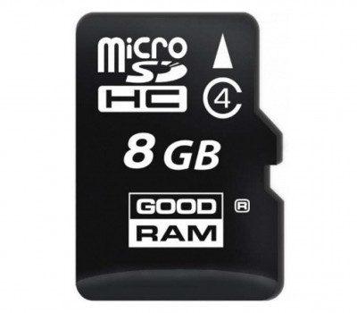 Goodram microSDHC 8GB Class 4 + adapter (SDU8GHCAGRR10)
