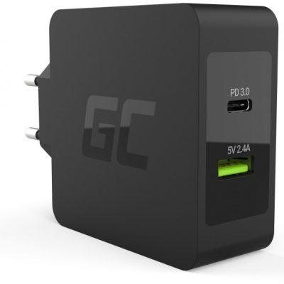 Green Cell GreenCell Ładowarka USB-C 45W Power Delivery z przewodem USB-C i dodatkowym portem USB CHAR10