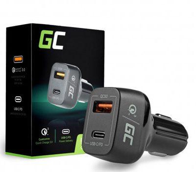 Green Cell Ładowarka Samochodowa USB-C USB QC 3.0