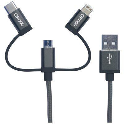 GRIXX Kabel USB Micro USB/USB-C/Lightning GRIXX Optimum 1 m Szary GROCA3IN1FG01