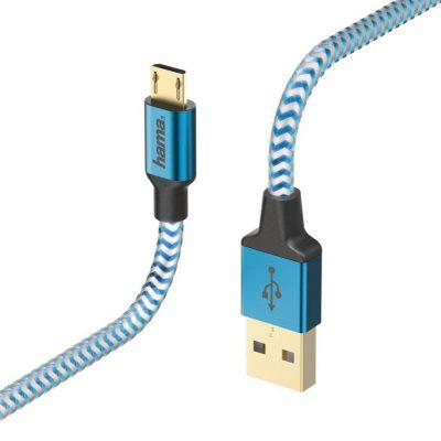 Hama kabel ładujący/data reflected micro usb 1.5m niebieski 178289