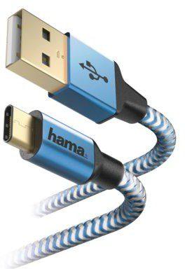 Hama Kabel Reflected USB Typ A-USB typ C 1.5M Niebieski