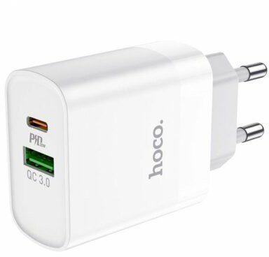 HOCO Ładowarka sieciowa C80A PD 20W QC3.0 + Kabel USB-C Biały