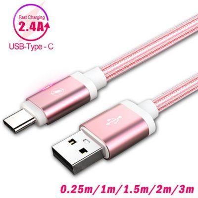 Huawei Typ C ładowarka 1m 2m USB o długości szybkie przewód ładowarki USB C dla P20 Lite Samsung