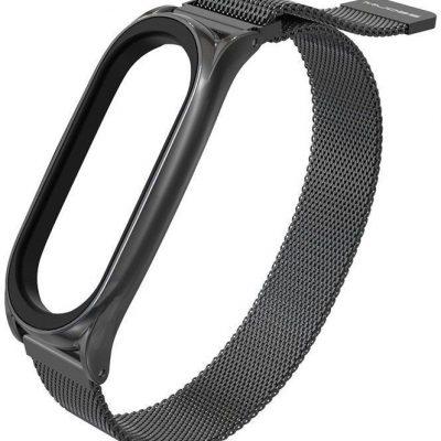 Hurtel Zamienna metalowa opaska bransoleta pasek do Xiaomi Mi Band 5 / Mi Band 4 / Mi Band 3 czarny