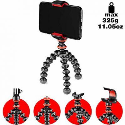 Joby JB01571-BWW GorillaPod zestaw startowy, elastyczny mini statyw z uniwersalnym zaciskiem do smartfona, GoPro i mocowaniem latarki do 325 g ładowności JB01571-BWW