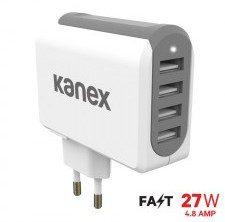 Kanex 4-PORT USB WALL CHARGER Ładowarka Sieciowa z Czterema Portami USB 4,8A 27W biały/szary) K160-1099-EU
