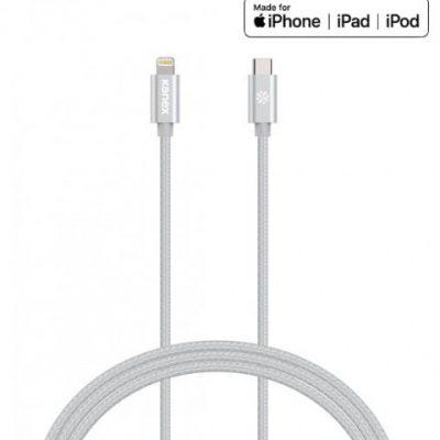 Kanex DuraBraid - Kabel połączeniowy USB-C (Power Delivery) na Lightning MFi 1,2 m (Silver)