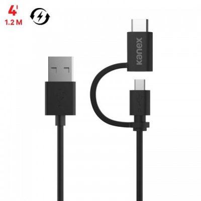 Kanex Micro USB ChargeSync Cable with USB-C Connector Adapter - Kabel USB do ładowania & synchronizacji danych z dwoma wtykami Micro USB & USB-C, 480 Mbps, 1,2 m (Black) K181-1122-BK4F