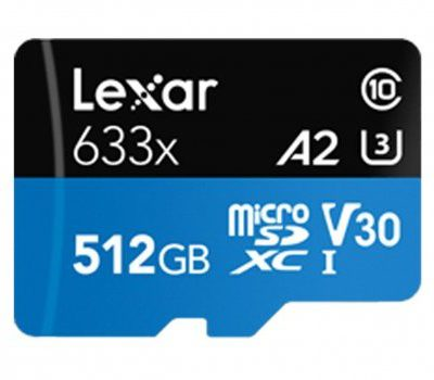 Lexar 512GB microSDXC High-Performance 633x UHS-I A2 V30 (LSDMI512BB633A)