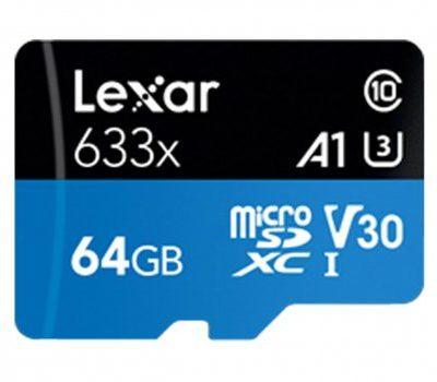 Lexar 64GB microSDXC High-Performance 633x UHS-I A1 V30 (LSDMI64GBB633A)