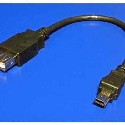 Logo Kabel USB 2.0 USB mini 5pin M USB A F 0.2m czarny Logo KVUF00250L