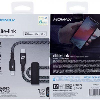 MOMAX MOMAX Elite Link kabel połączeniowy USB-C na Lightning MFi 1,2 m 0041380