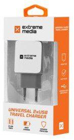 Natec Ładowarka sieciowa Extreme Media NUC-0996 adapter napięcia 230V -> USB 2.1A x2 biało-szara NUC-0996