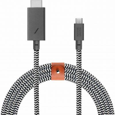 Native Union Belt Cable Kabel USB-C ze Złączem HDMI ze Skórzanym Zapięciem 3m (Zebra) BELT-C-HDMI-ZEB-3