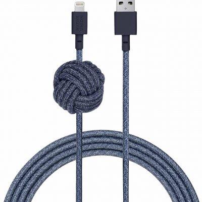 Native Union Night Cable Wzmozniony Kabel USB Lightning z Węzłem 3m (Indigo) NCABLE-KV-L-IND