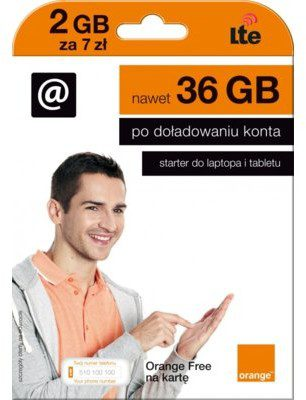 ORANGE Starter Free Na Kartę 2 GB 7zł