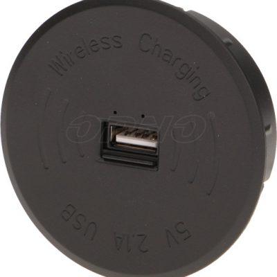 Orno Bezprzewodowa ładowarka indukcyjna z dodatkowym portem USB czarna OR-AE-1367/B