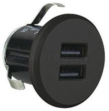 Orno Przewodowa ładowarka USB wpuszczana w blat z zasilaczem czarna OR-AE-1368/B