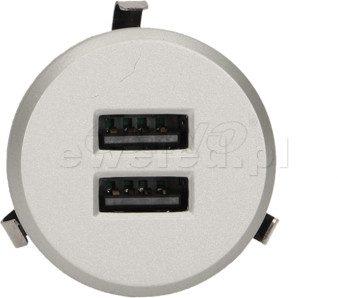 Orno Przewodowa ładowarka USB wpuszczana w blat z zasilaczem srebrna OR-AE-1368/G