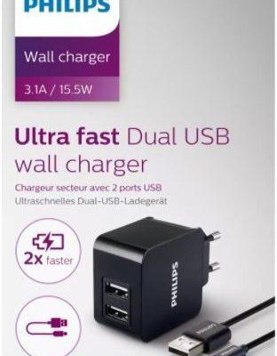 Philips Podwójna ładowarka 5V/3.1A 15.5W micro USB z kablem micro USB