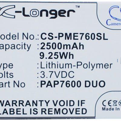 Prestigio MultiPhone 7600 Duo / PAP7600 Duo 2500mAh 9.25Wh Li-Polymer 3.7V (Came (CS-PME760SL)