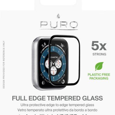 PURO Full Edge Tempered Glass - Szkło ochronne hartowane na ekran Apple Watch 4/5/6/SE 44 mm (czarna ramka)
