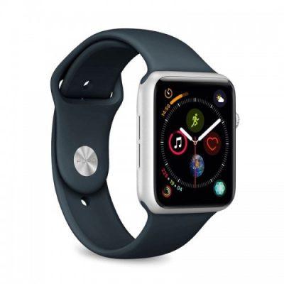 PURO ICON Apple Watch Band - Elastyczny pasek sportowy do Apple Watch 42 / 44 mm (S/M & M/L) (Navy Blue)