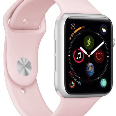 PURO Icon Apple Watch Band Elastyczny Pasek Sportowy do Apple Watch 44 mm / 42 mm (S/M & M/L) (Piaskowy róż) AW44ICONROSE