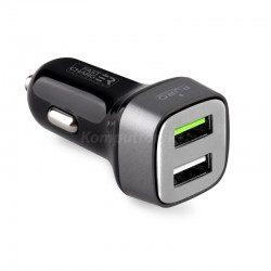 Puro Mini Car Fast Charger square 2x USB 2.4 A czarny (FCMCH2USB24SCBLK)