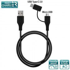 PURO Type-C Cable 2in1 MICRO USB&USB-C 2A 480 MBPS 1 m czarny) (10_9687)