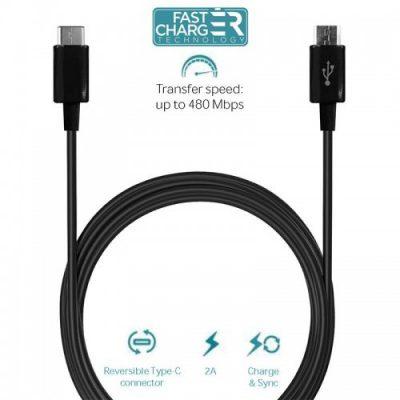 PURO Type-C Charge & Sync Cable - Kabel USB-C 3.1 na Micro USB do ładowania & synchronizacji danych, 2A, 480 Mbps, 1m (czarny)
