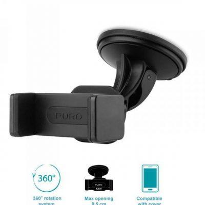 PURO Uniwersalny uchwyt samochodowy do smartfonów + przyssawka (czarny) SH5WDBLK