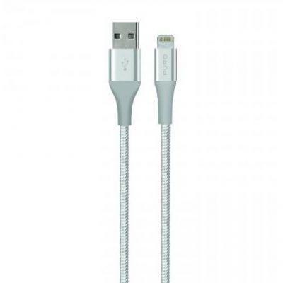 PURO USB-Lightning MFI 1,2M Fabric K2 srebrny