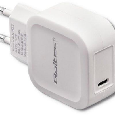 Qoltec Ładowarka sieciowa 5V | 3A | 20W | USB typ C | PD | Biała