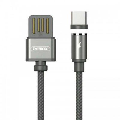 Remax Gravity RC-095a magnetyczny kabel USB / USB Type C z lampką LED 1M 1.5A czarny 6954851280972