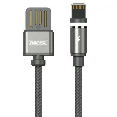 Remax Gravity RC-095i magnetyczny kabel USB / Lightning z lampką LED 1M 1A czarny 6954851280934