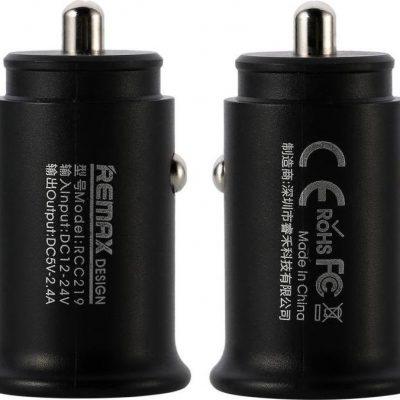 Remax Ładowarka Roki Series Car Charger RCC219 mini ładowarka samochodowa 2x USB 2.4A czarny uniwersalny 72856-uniw