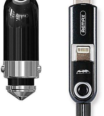 Remax ładowarka samochodowa Cutie RCC-211 3w1 Lightning - Typ-C - microUSB czarna do SAMSUNG ZV50