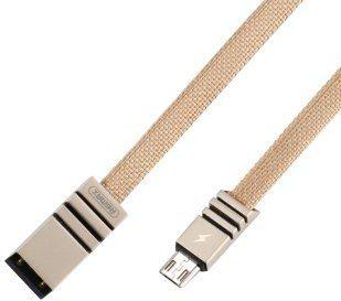 Remax Weave RC-081m kabel w materiałowym oplocie przewód USB / micro USB 2.1 1M kremowy 6954851274650