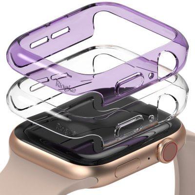 Ringke Slim Watch Case zestaw 2x etui na zegarem smartwatch Watch 6 40mm / Watch 5 40mm / Watch 4 40mm / Watch SE 40mm przezroczysty + fioletowy (S512R225)