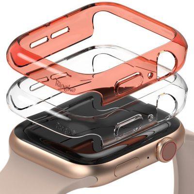 Ringke Slim Watch Case zestaw 2x etui na zegarem smartwatch Watch 6 40mm / Watch 5 40mm / Watch 4 40mm / Watch SE 40mm przezroczysty + pomarańczowy (S512R65)