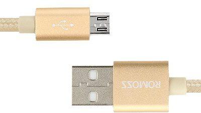 Romoss kabel micro USB (ładowanie, komunikacja) - gold / złoty PB/RO-MIC-G