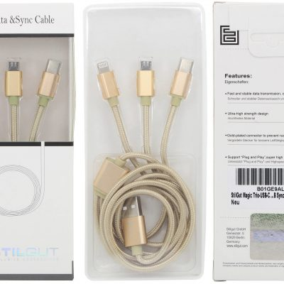 Stilgut Kabel, przewód Magic Trio, USB Typ C Lightning Micro USB, gold - B01GE9ALD6