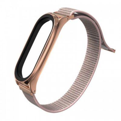 TECH-PROTECT Pasek Nylon do Xiaomi Mi Band 5 Różowo-złoty